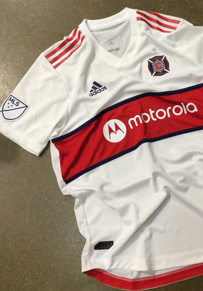 sale retailer 1d021 c4b6b Chicago Fire Mens Adidas Authentic Soccer 2019 Secondary Jersey - White
