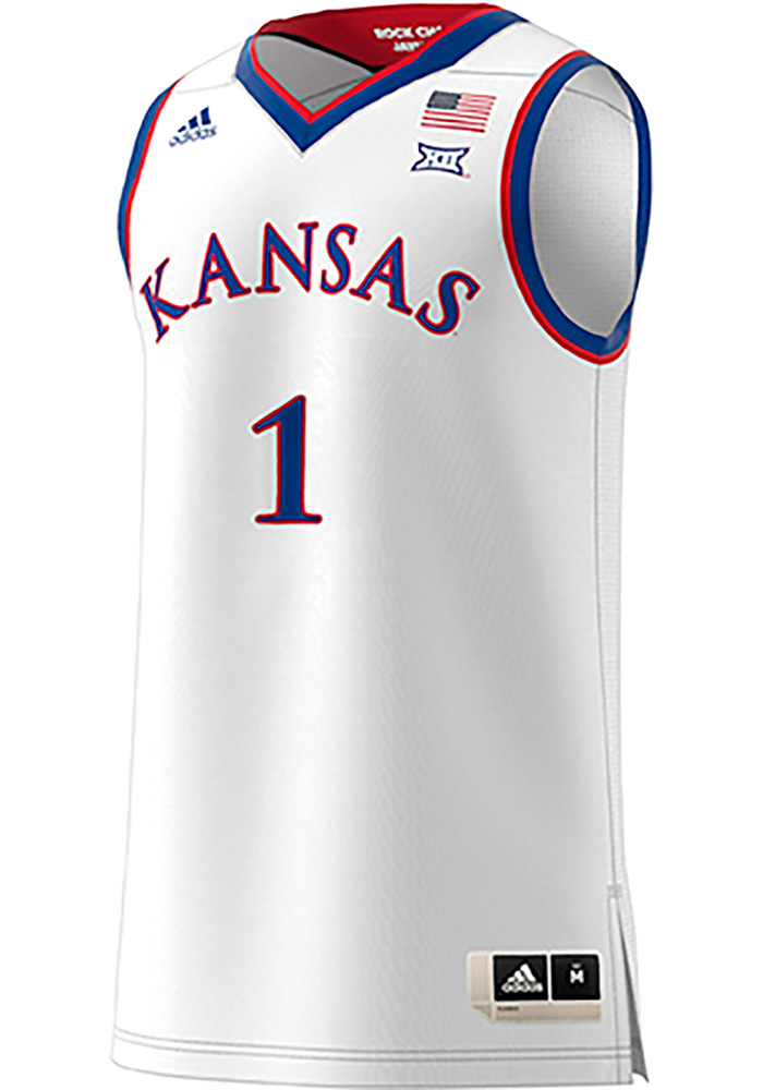 new product 31f30 59702 Adidas Kansas Jayhawks Mens White Replica Jersey