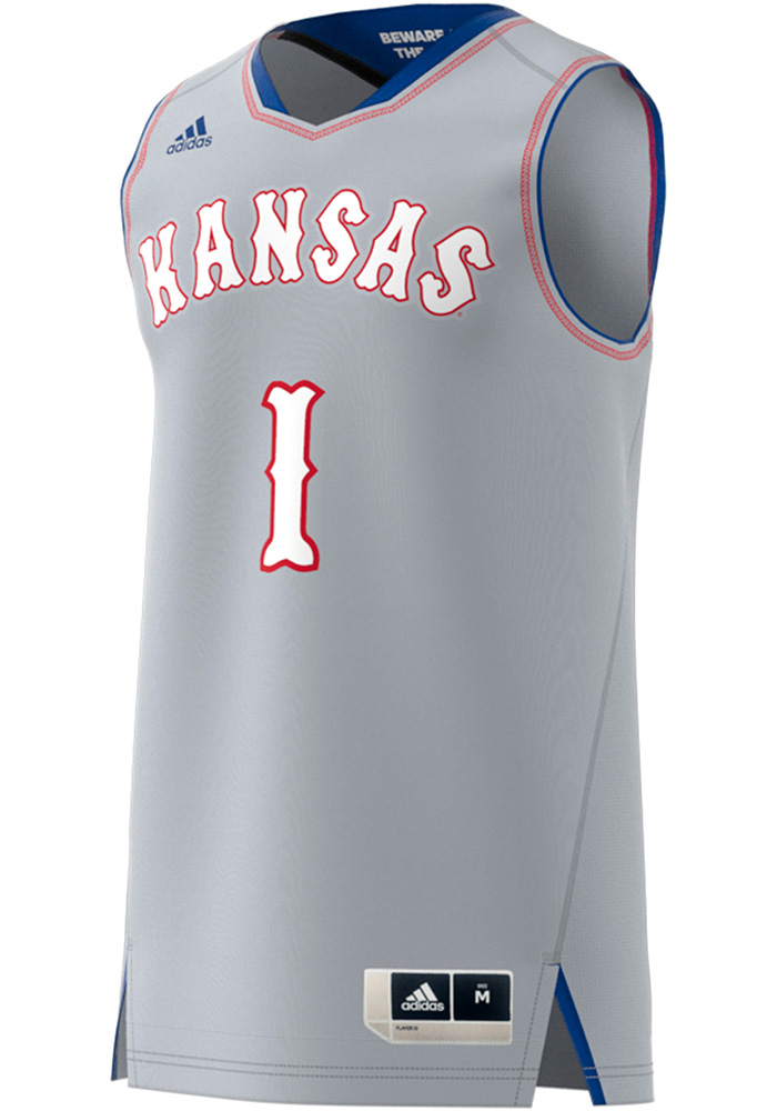 brand new 348fa 8ec06 Adidas Kansas Jayhawks Mens Grey Replica Jersey