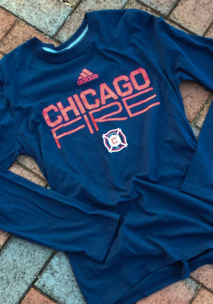 Adidas Chicago Fire Navy Blue Locker Stacked Long Sleeve T-Shirt - Image 2