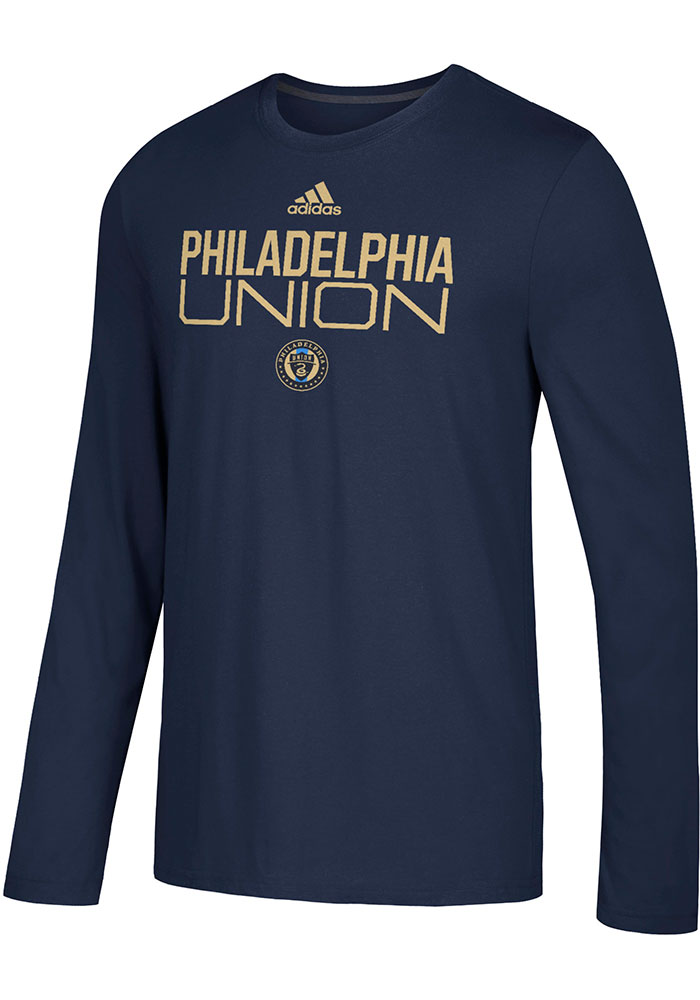 Adidas Philadelphia Union Navy Blue Locker Stacked Long Sleeve T-Shirt - Image 1