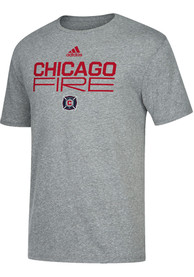Chicago Fire Adidas Locker Stacked Fashion T Shirt - Grey