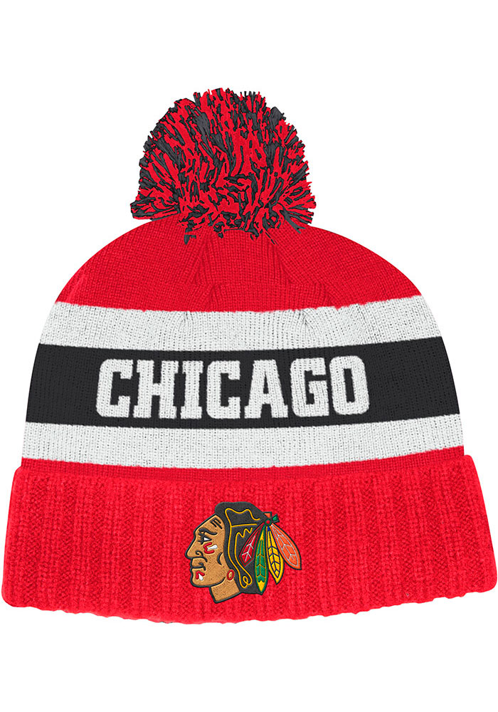 Adidas Chicago Blackhawks Red Culture Cuff Pom Mens Knit Hat - Image 1