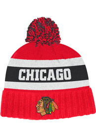 Chicago Blackhawks Adidas Culture Cuff Pom Knit - Red