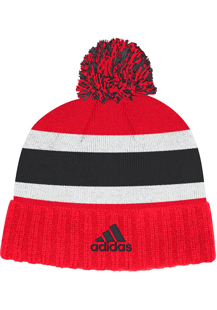 Adidas Chicago Blackhawks Red Culture Cuff Pom Mens Knit Hat - Image 2