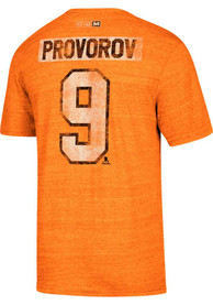 Ivan Provorov Philadelphia Flyers Orange Name and Number Fashion Player Tee