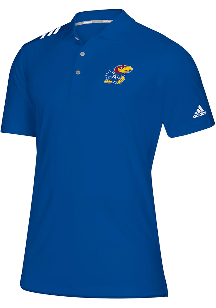 Adidas Kansas Jayhawks Mens Blue 3 Stripe Short Sleeve Polo - Image 1