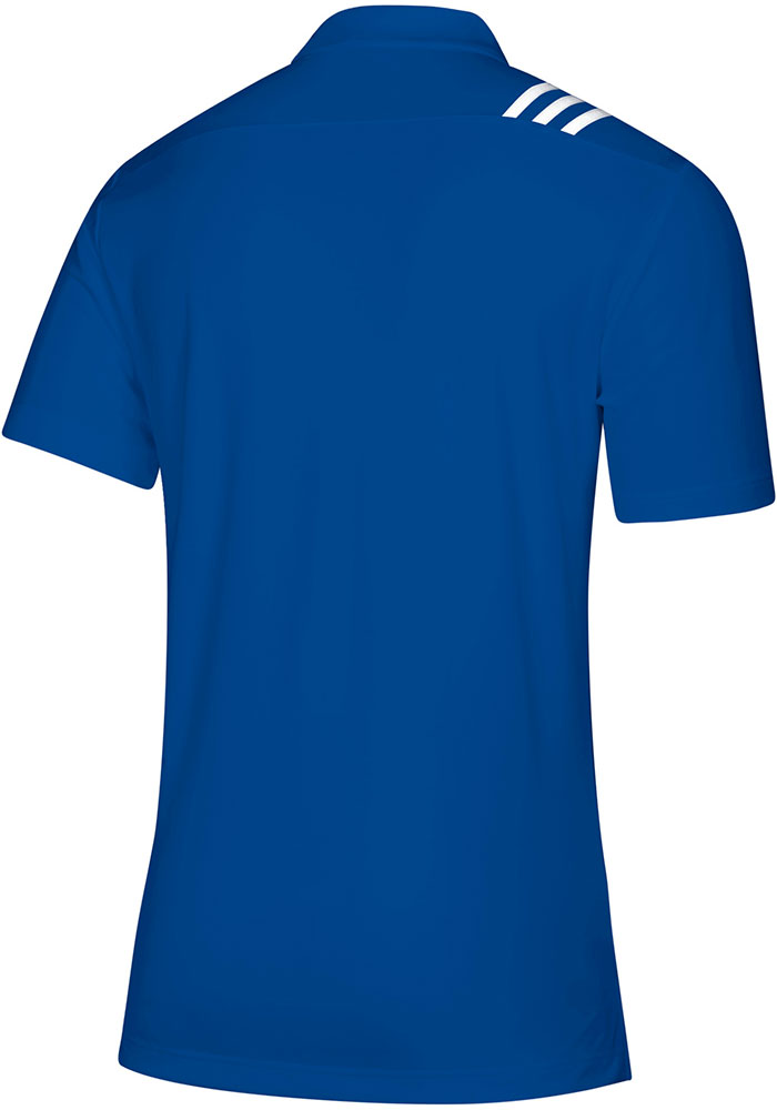 Adidas Kansas Jayhawks Mens Blue 3 Stripe Short Sleeve Polo - Image 2