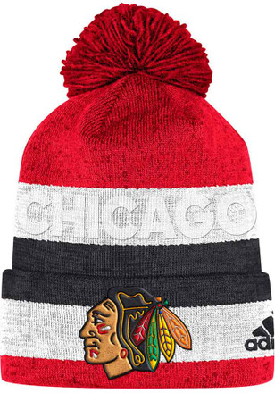 168c250aa08 Adidas Chicago Blackhawks Red Debossed Stripe Knit Hat