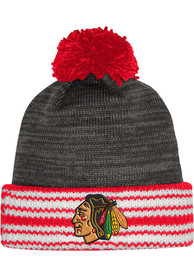 Chicago Blackhawks Adidas Jacquard Stripe Cuff Knit - Charcoal