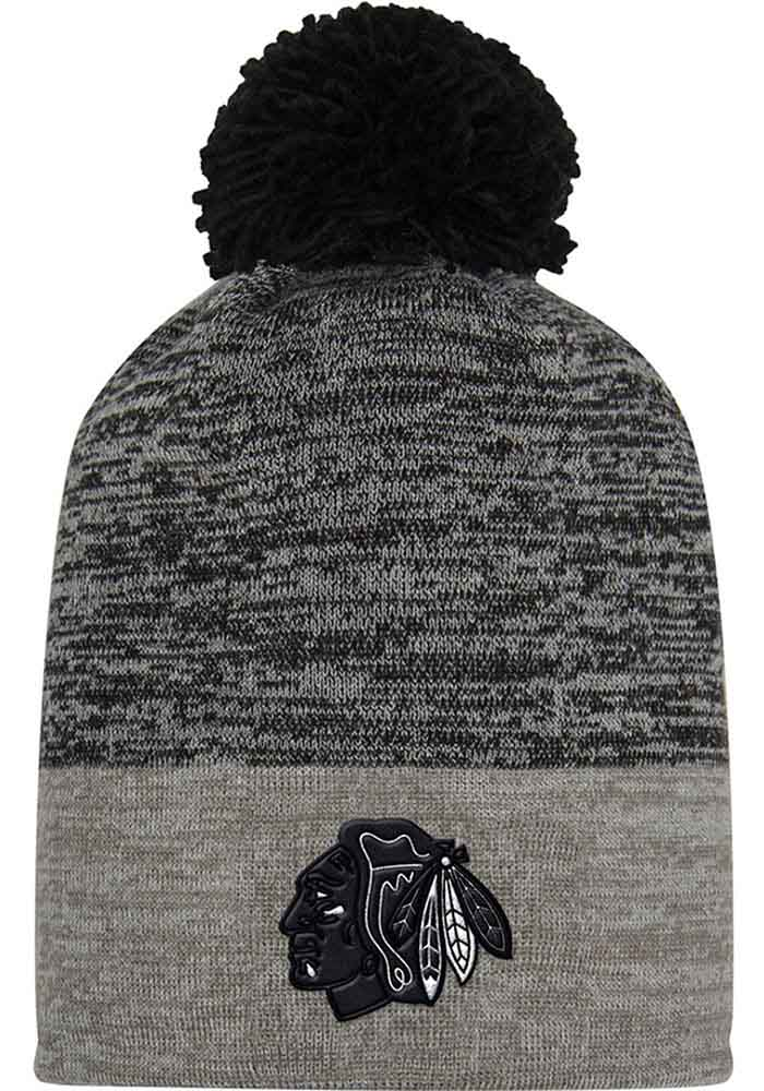 Adidas Chicago Blackhawks Charcoal Jacquard Tonal Mens Knit Hat - Image 1