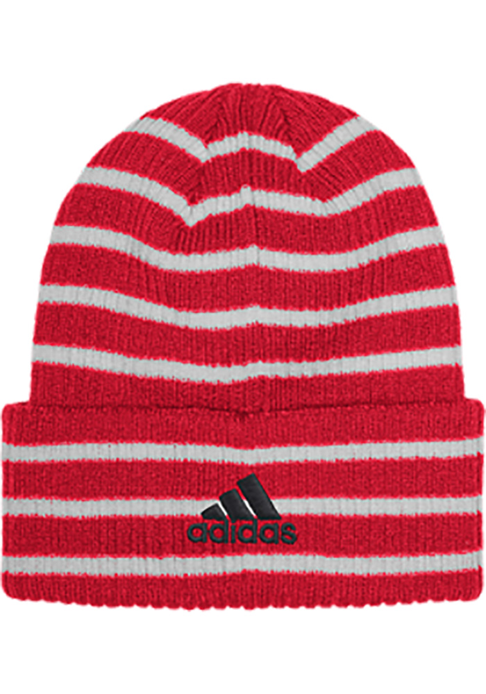 Adidas Chicago Blackhawks Red Striped Up Mens Knit Hat - Image 2