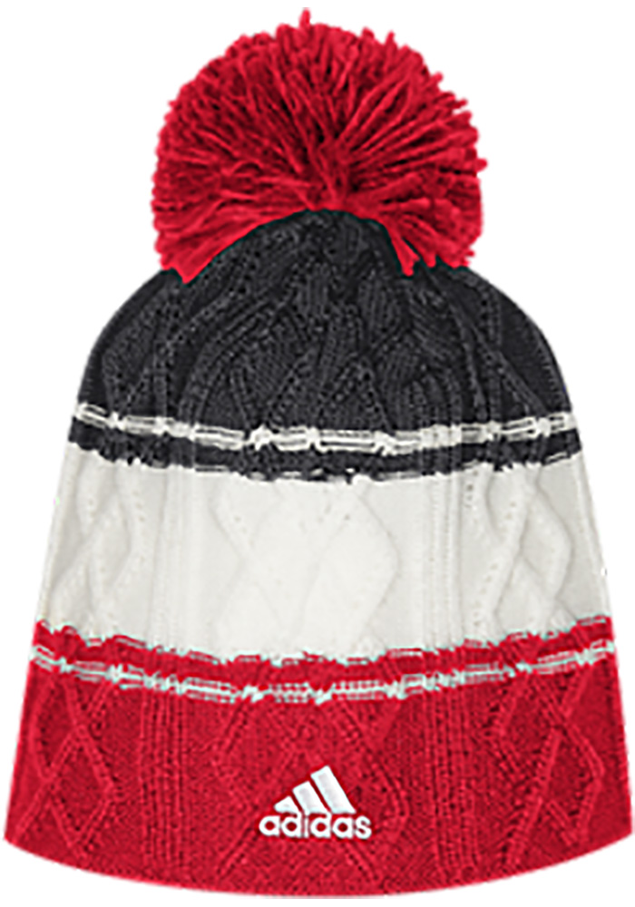 Adidas Chicago Blackhawks Red 3 Stripe Cable Womens Knit Hat - Image 2