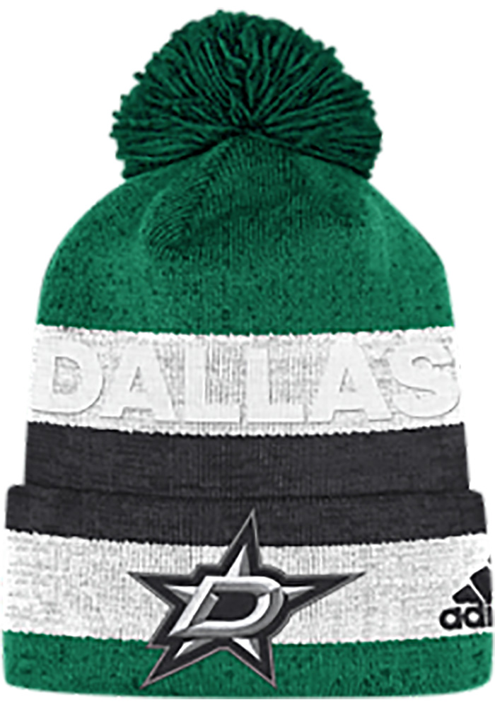 fec8a82a067 Adidas Dallas Stars Kelly Green Debossed Stripe Knit Hat