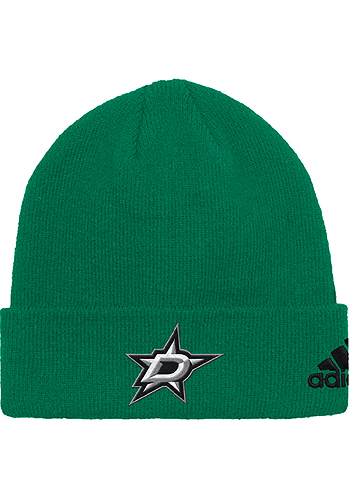 Adidas Dallas Stars Kelly Green Basic Cuff Mens Knit Hat - Image 1