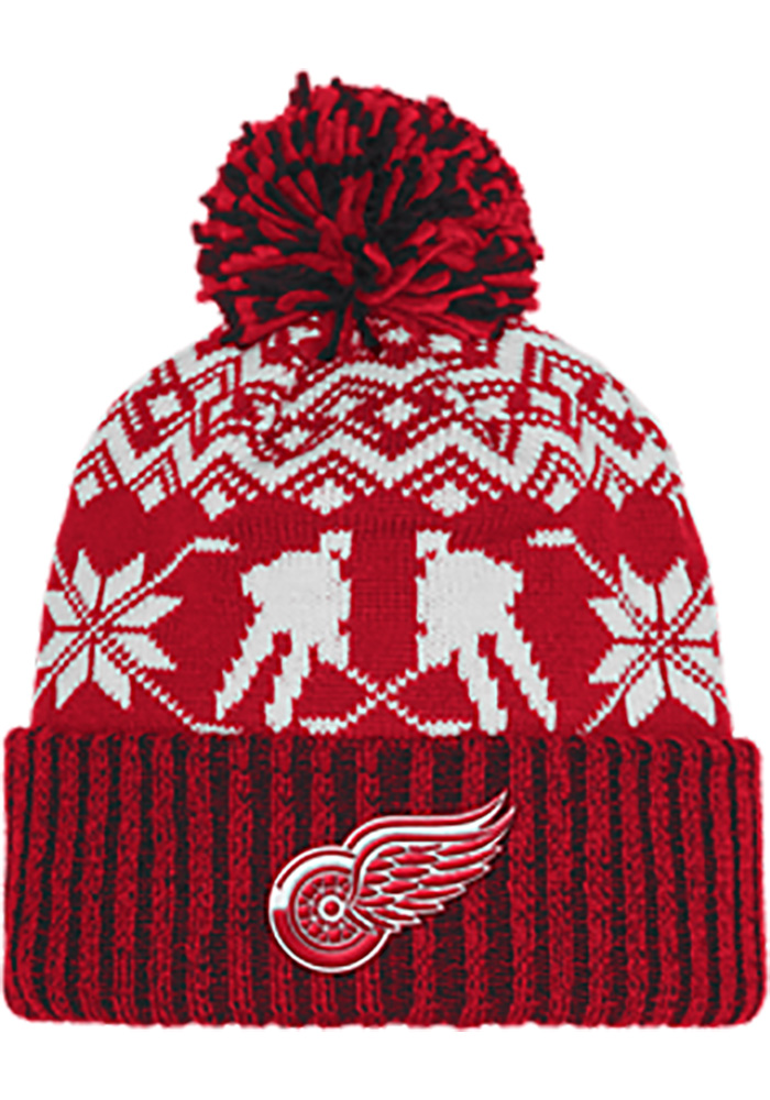 Adidas Detroit Red Wings Red Ugly Sweater Mens Knit Hat - Image 1