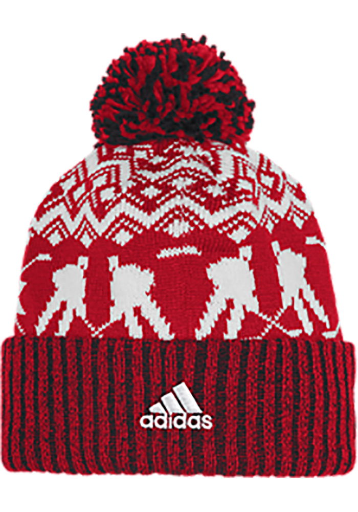 Adidas Detroit Red Wings Red Ugly Sweater Mens Knit Hat - Image 2