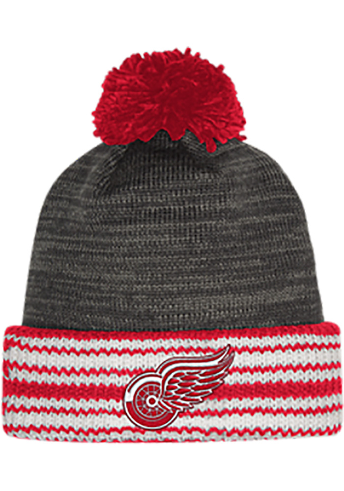 Adidas Detroit Red Wings Charcoal Jacquard Stripe Cuff Mens Knit Hat - Image 1