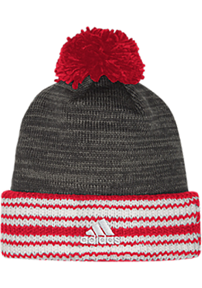 Adidas Detroit Red Wings Charcoal Jacquard Stripe Cuff Mens Knit Hat - Image 2