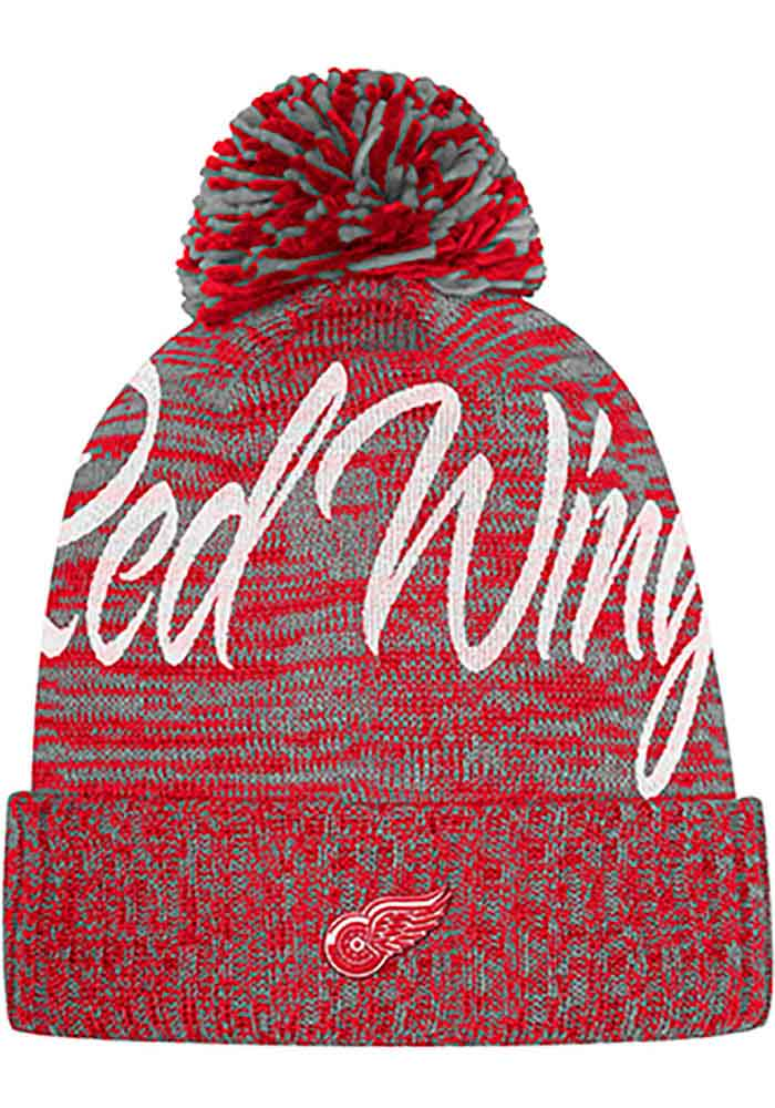 Adidas Detroit Red Wings Red Script Crown Womens Knit Hat - Image 1