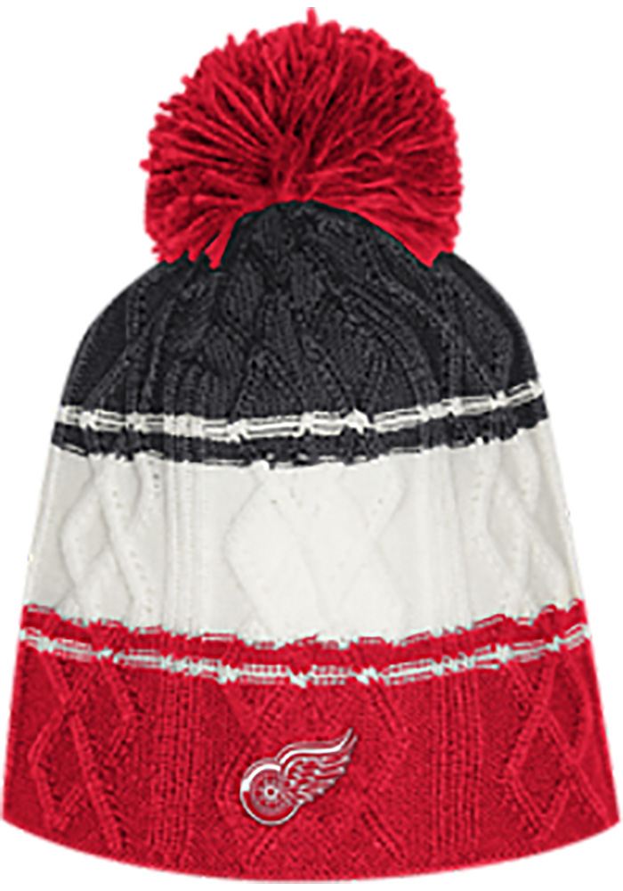 Adidas Detroit Red Wings Red 3 Stripe Cable Womens Knit Hat - Image 1