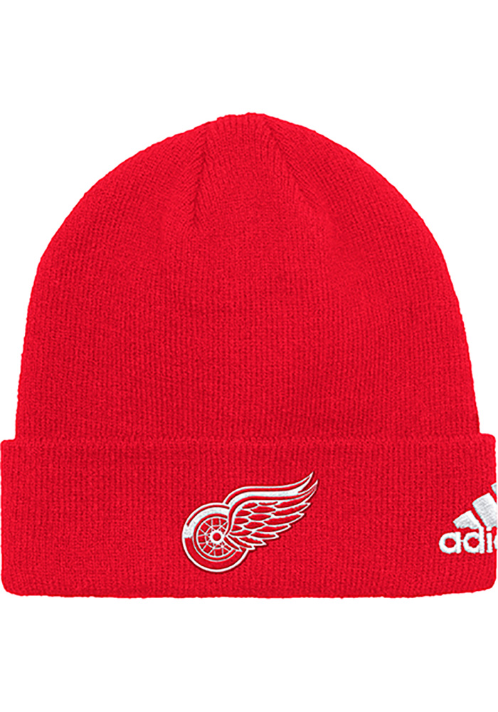 Adidas Detroit Red Wings Red Basic Cuff Mens Knit Hat - Image 1