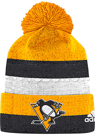 9a985ed6aa2 Adidas Pittsburgh Penguins Black Debossed Stripe Knit Hat