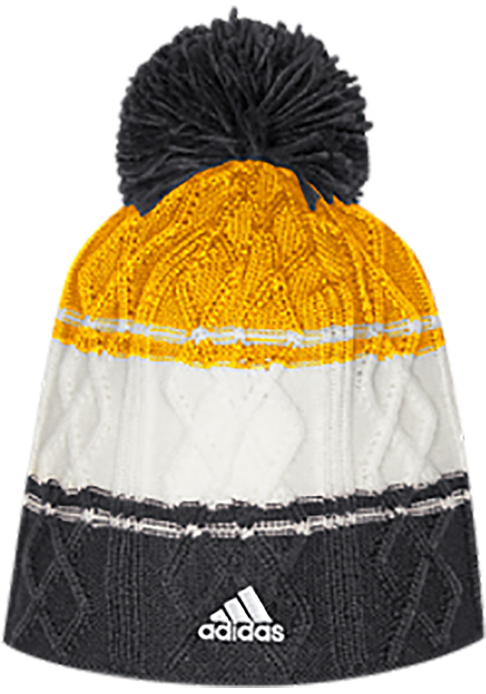 Adidas Pittsburgh Penguins Black 3 Stripe Cable Womens Knit Hat - Image 2