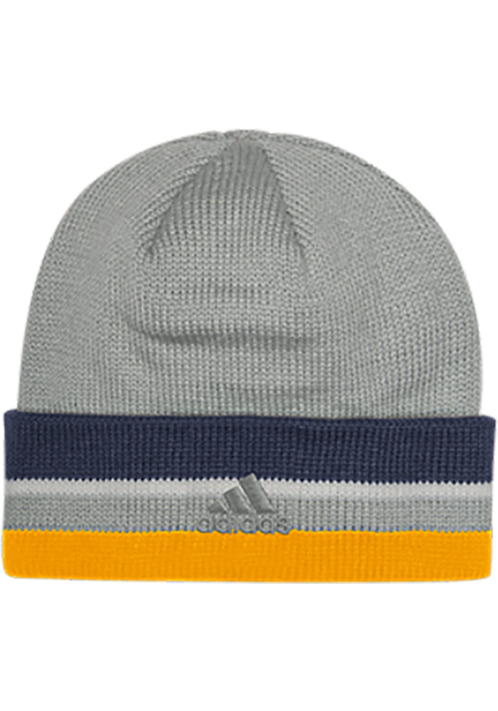 Adidas St Louis Blues Grey Clean Cuff Mens Knit Hat - Image 2