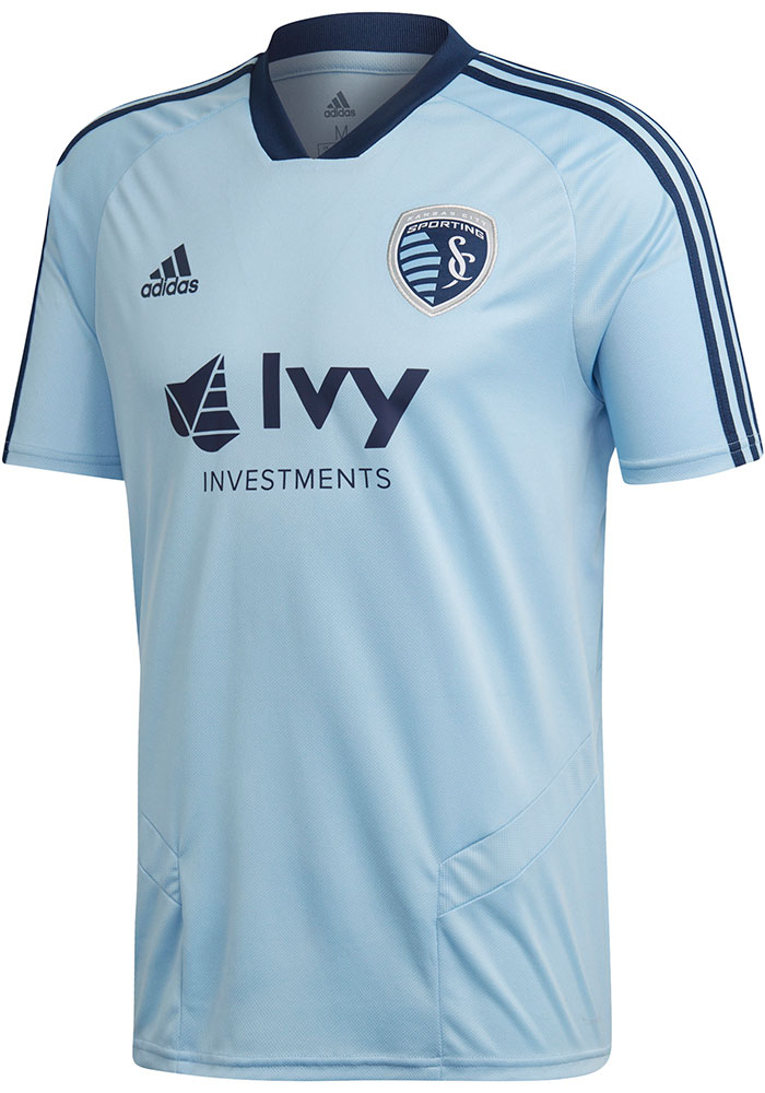 Adidas Sporting Kansas City Light Blue Training Jersey Short Sleeve T Shirt - Image 1