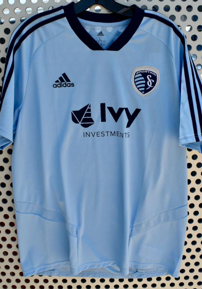 Adidas Sporting Kansas City Light Blue Training Jersey Short Sleeve T Shirt - Image 3