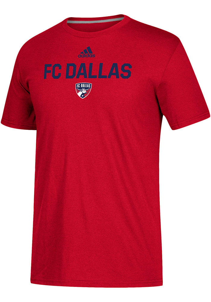 Adidas FC Dallas Red Locker Stacked Short Sleeve T Shirt - Image 1