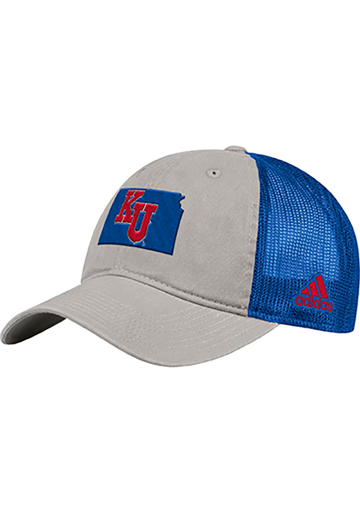 Kansas Jayhawks Adidas Overdye Meshback Adjustable Hat - Grey