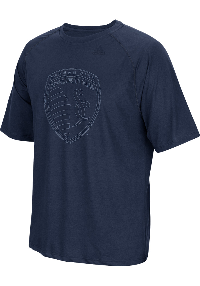 Adidas Sporting Kansas City Navy Blue FC Logo Short Sleeve T Shirt - Image 1