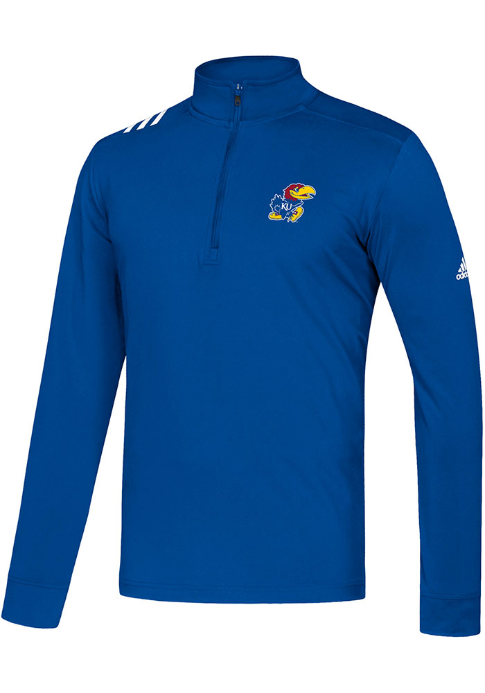 Adidas Kansas Jayhawks Mens Blue Stripe Long Sleeve 1/4 Zip Pullover - Image 1