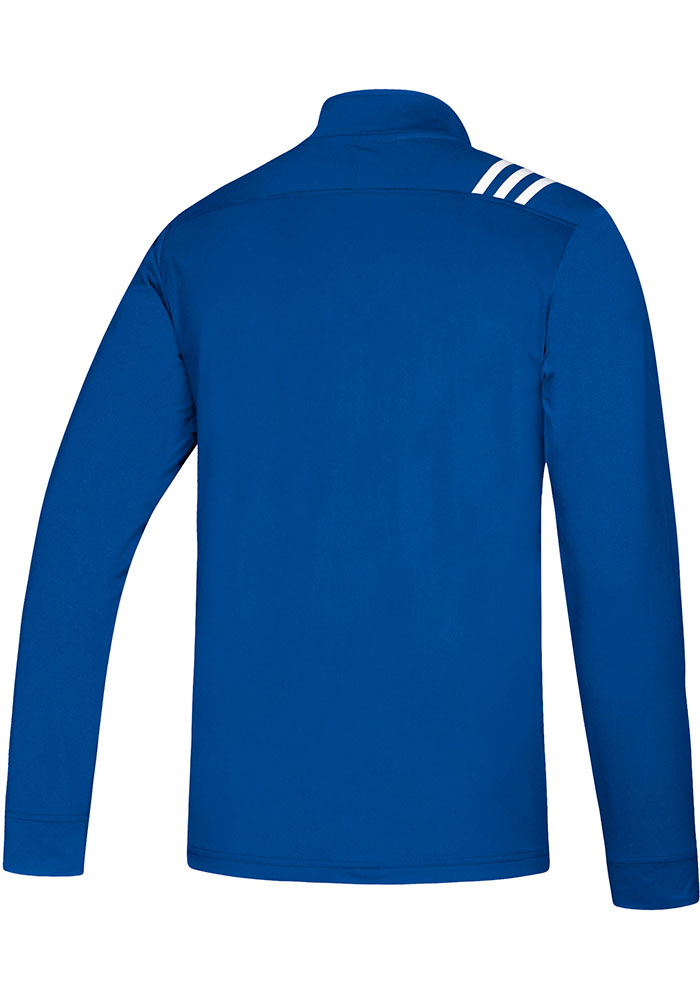 Adidas Kansas Jayhawks Mens Blue Stripe Long Sleeve 1/4 Zip Pullover - Image 2