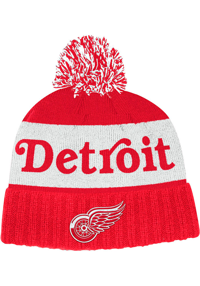 Adidas Detroit Red Wings Red Culture Cuff Pom Mens Knit Hat - Image 1