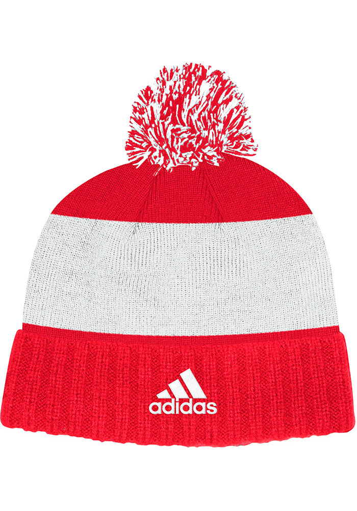 Adidas Detroit Red Wings Red Culture Cuff Pom Mens Knit Hat - Image 2