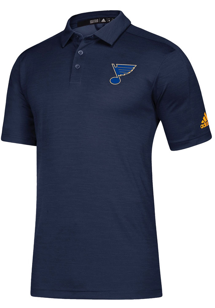 Adidas St Louis Blues Mens Navy Blue Game Mode Short Sleeve Polo - Image 1
