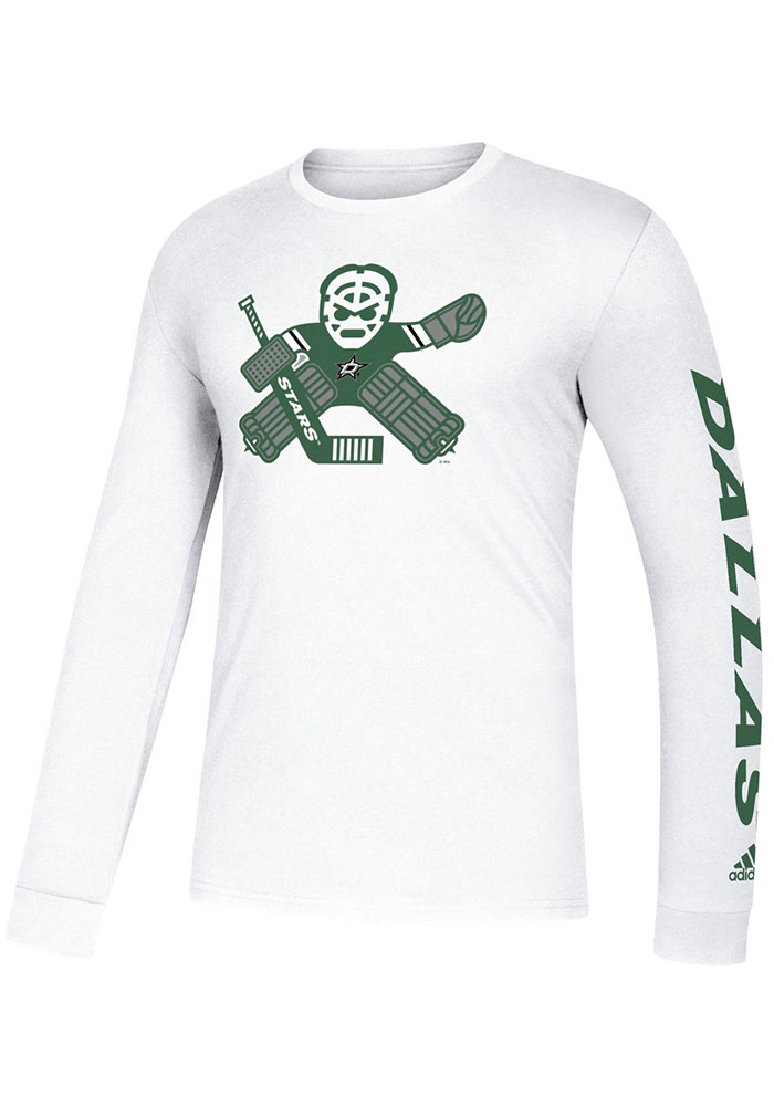 Adidas Dallas Stars White Goalie School Long Sleeve T Shirt - Image 1