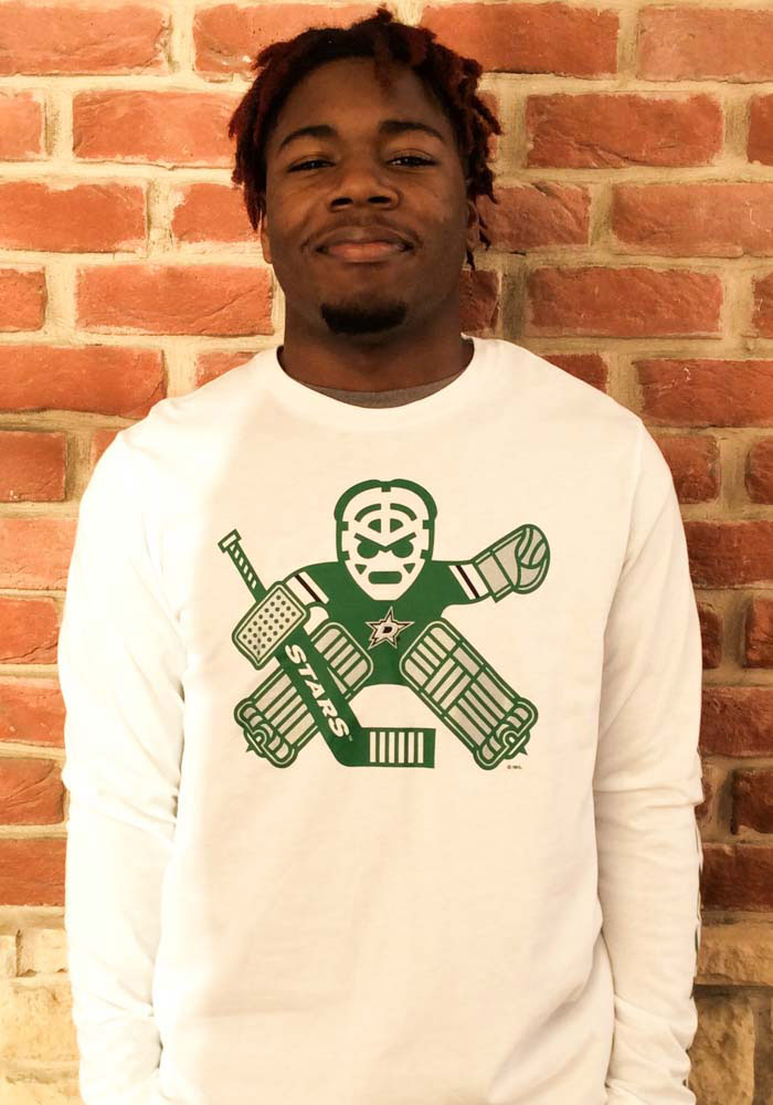 Adidas Dallas Stars White Goalie School Long Sleeve T Shirt - Image 2