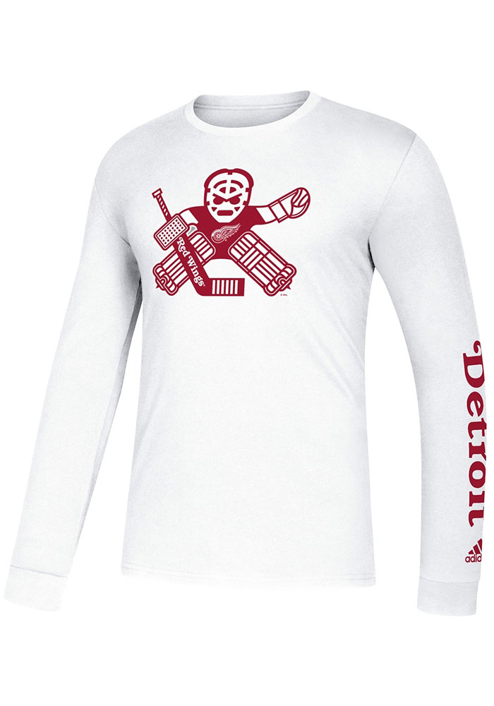 Adidas Detroit Red Wings White Goalie School Long Sleeve T Shirt - Image 1