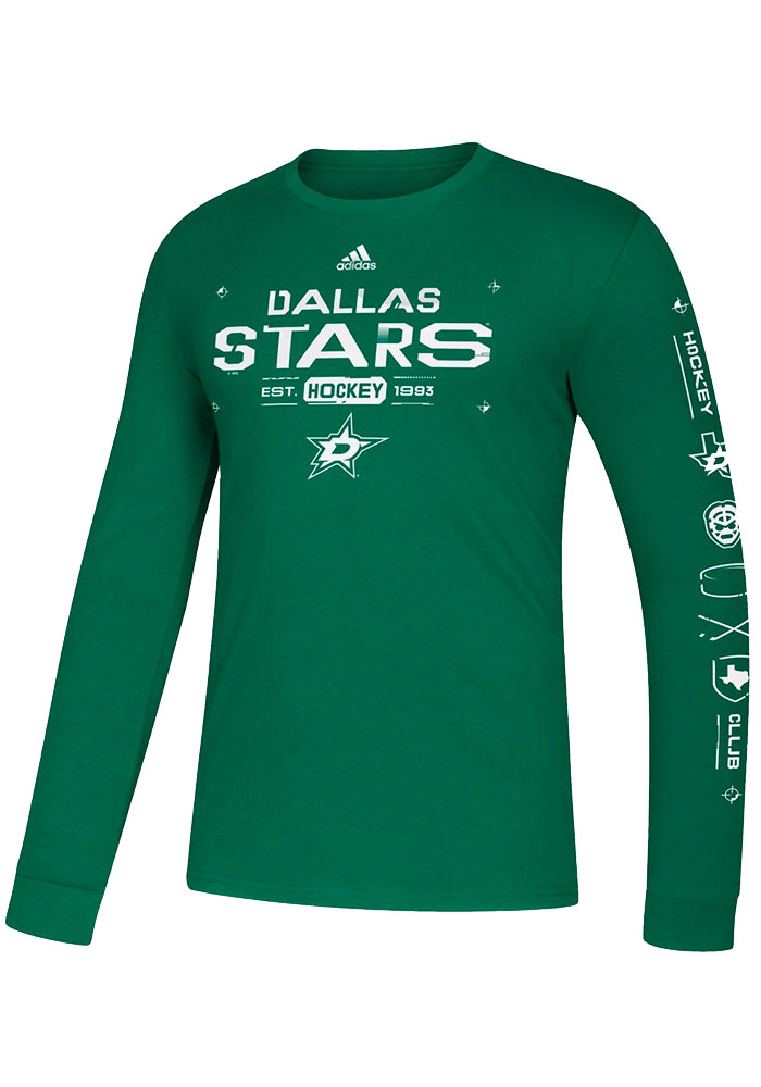 Adidas Dallas Stars Kelly Green Powered By Long Sleeve T Shirt - Image 1