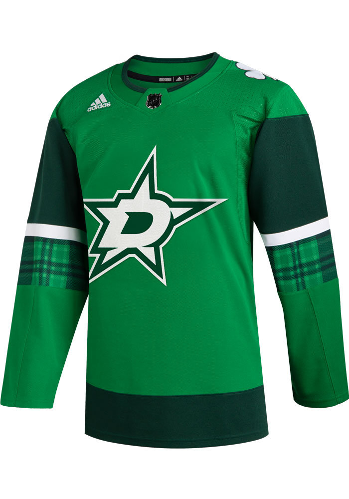 Adidas Dallas Stars Mens Green 2020 St. Patricks Day Authentic Hockey Jersey - Image 1