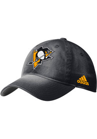 Pittsburgh Penguins Adidas Faded Slouch Adjustable Hat - Black