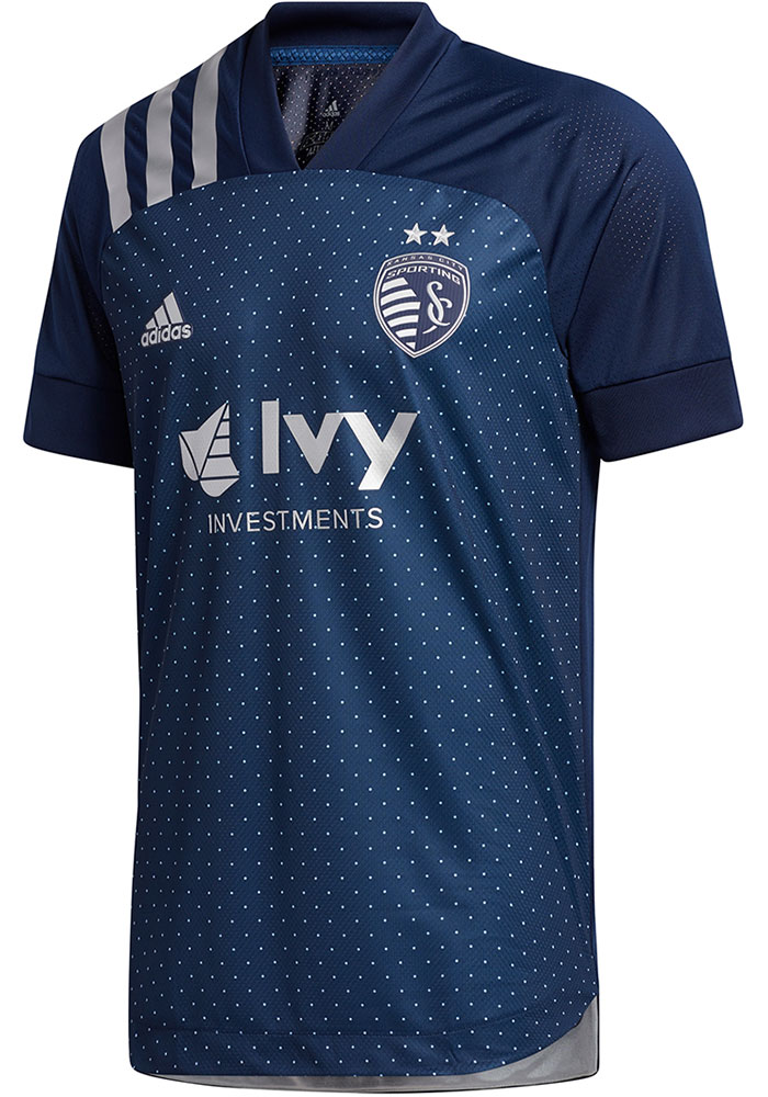 Sporting Kansas City Mens Adidas Authentic Soccer 2020 Secondary Jersey - Navy Blue - Image 1