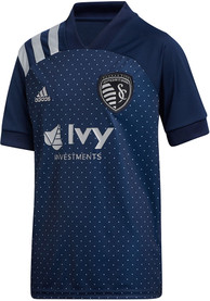 Sporting Kansas City Youth Adidas 2020 Secondary Soccer Jersey - Navy Blue