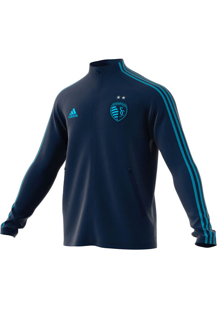Adidas Sporting Kansas City Mens Navy Blue Anthem Track Jacket - Image 1