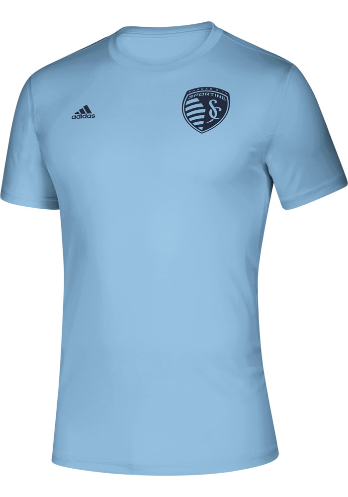 Adidas Sporting Kansas City Light Blue Iconic Short Sleeve T Shirt - Image 1