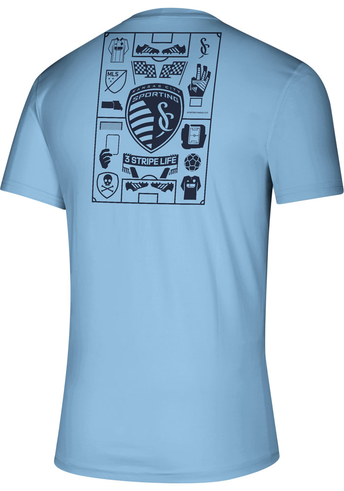 Adidas Sporting Kansas City Light Blue Iconic Short Sleeve T Shirt - Image 2